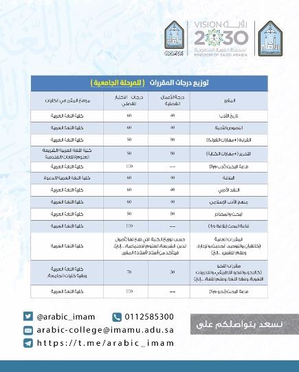 إعادة توزيع درجات مقررات التخصص الأدب والبلاغة بكلية اللغة العربية