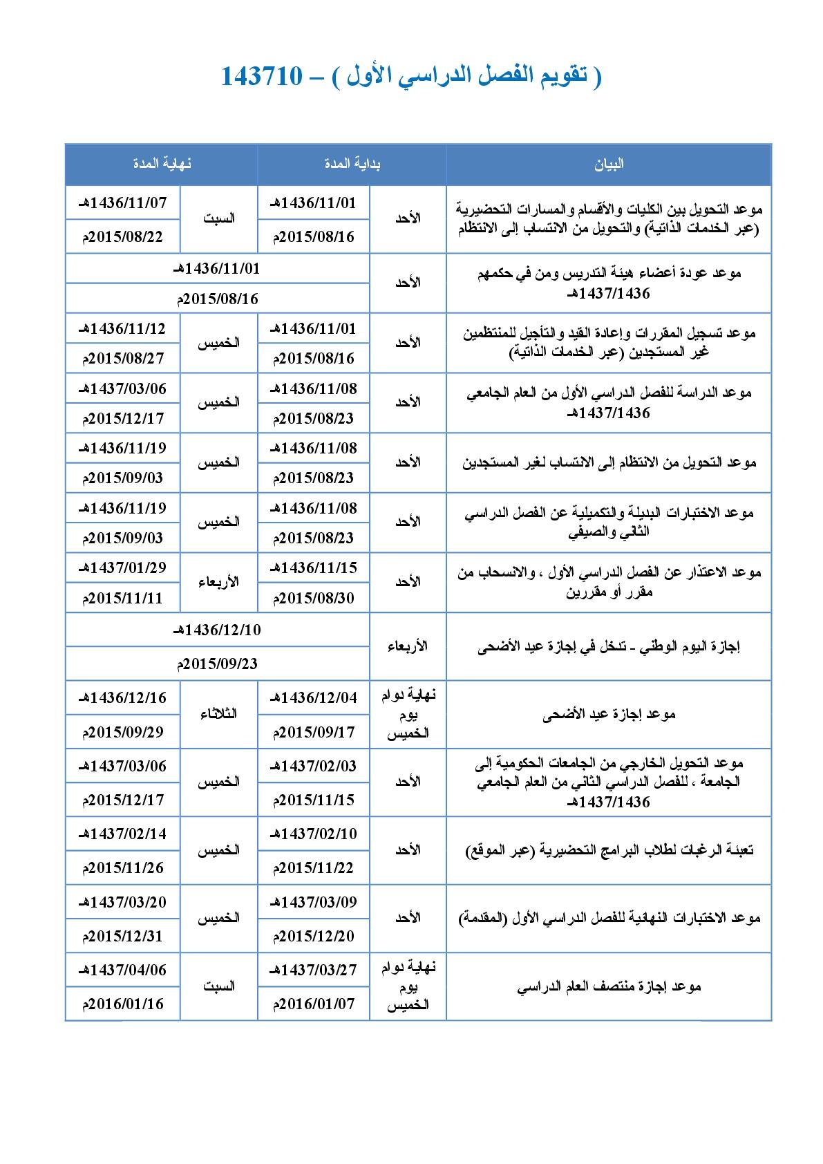 التقويم الدراسي الجامعي لعام 1436 1437هـ